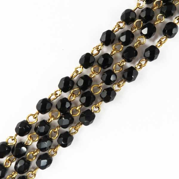 Czech Linked Rosary Chain, 6mm Jet Faceted Beads, Gold Linked Chain, (Sold by the Meter)