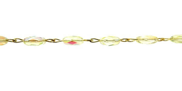 Czech Linked Rosary Chain, 6mm Jonquil AB Fire Polished Beads, Gold Linked Chain, (Sold by the Meter)