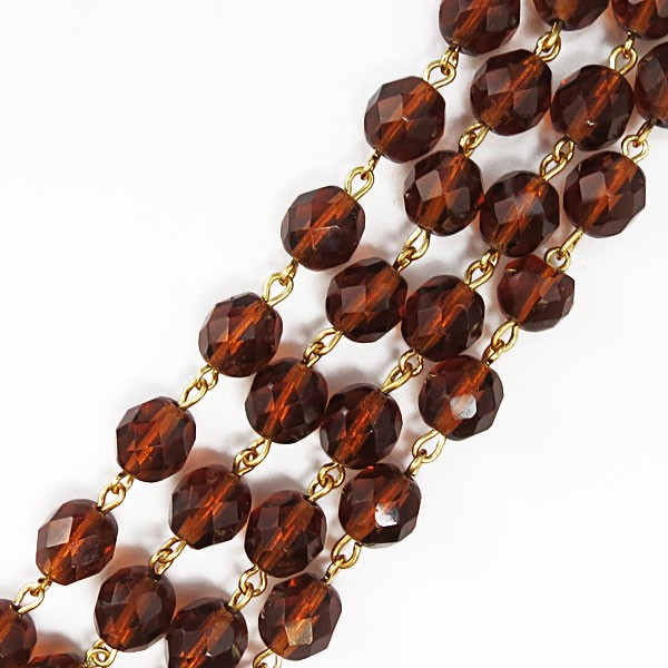 Czech Linked Rosary Chain, 8mm Smokey Topaz Beads, Gold Linked Chain, (Sold by the Meter)