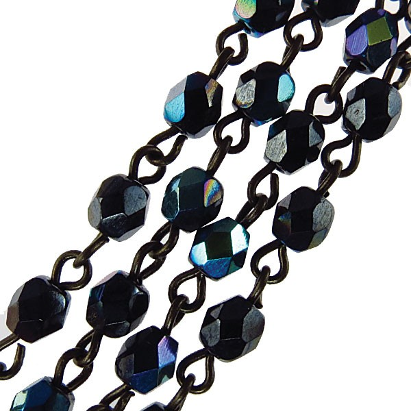 Czech Linked Rosary Chain, 4mm Hematite AB Faceted Beads, Old Silver Linked Chain, (Sold by the Meter)