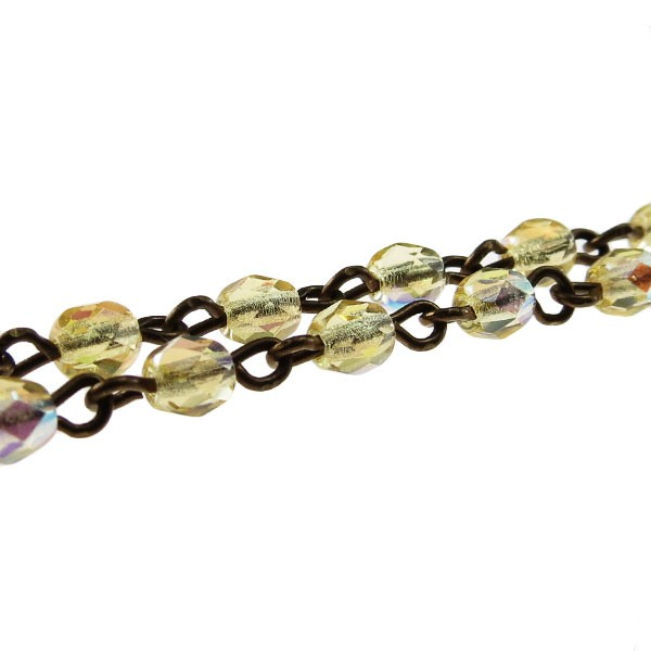 Czech Linked Rosary Chain, 4mm Amber AB Faceted Beads, Brass Linked Chain, (Sold by the Meter)