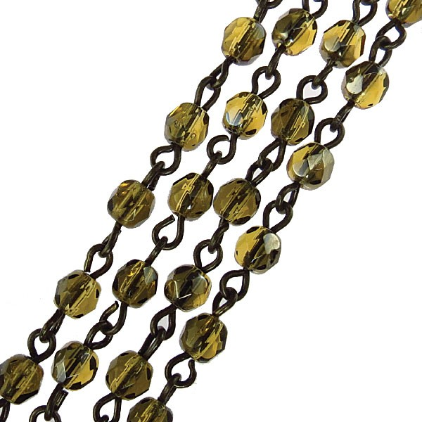 Czech Linked Rosary Chain, 4mm Amber Valentinite Faceted Beads, Brass Linked Chain, (Sold by the Meter)