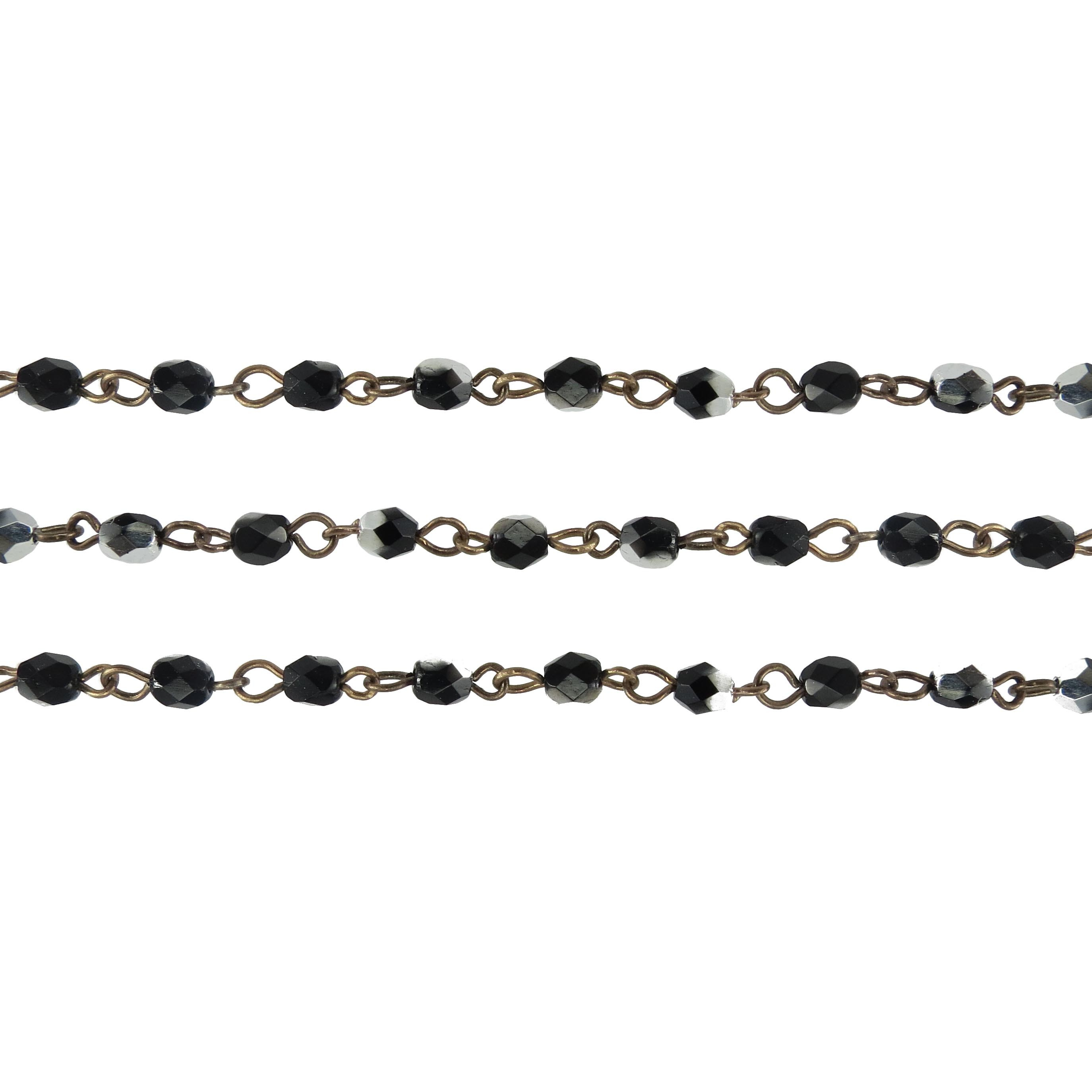 Czech Linked Rosary Chain, 4mm Jet Silver Faceted Beads, Brass Linked Chain, (Sold by the Meter)