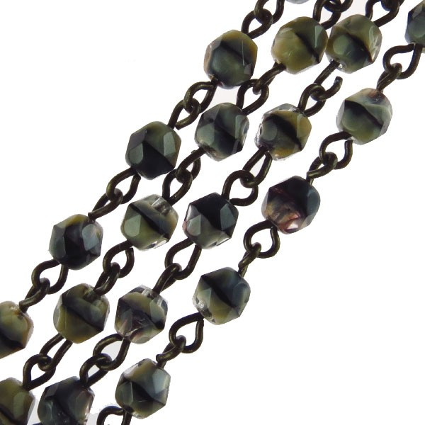 Czech Linked Rosary Chain, 4mm Grey Tiger Eye Faceted Beads, Brass Linked Chain, (Sold by the Meter)
