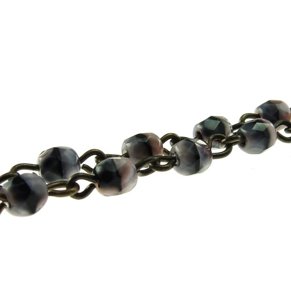 Czech Linked Rosary Chain, 4mm Pink/Grey Tiger Eye Beads, Brass Linked Chain, (Sold by the Meter)