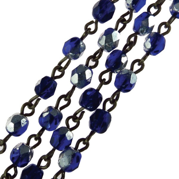 Czech Linked Rosary Chain, 4mm Sapphire Silver Faceted Beads, Brass Linked Chain, (Sold by the Meter)
