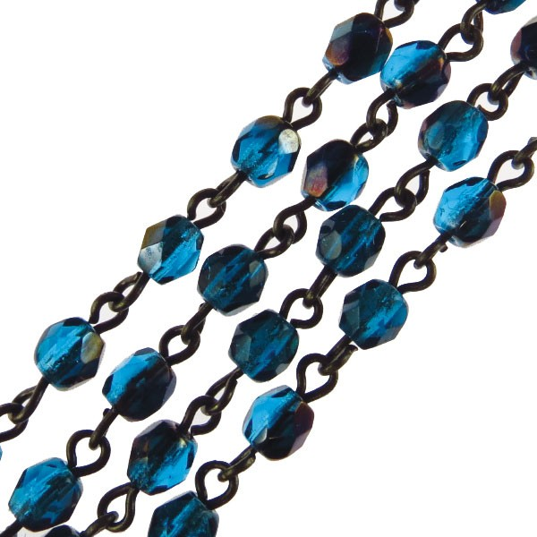 Czech Linked Rosary Chain, 4mm Aqua Zarit Faceted Beads, Brass Linked Chain, (Sold by the Meter)