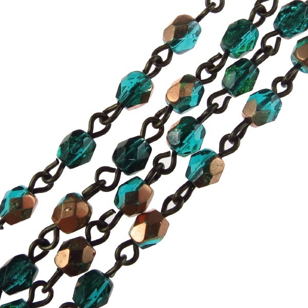 Czech Linked Rosary Chain, 4mm Blue Zircon Capri Faceted, Brass Link