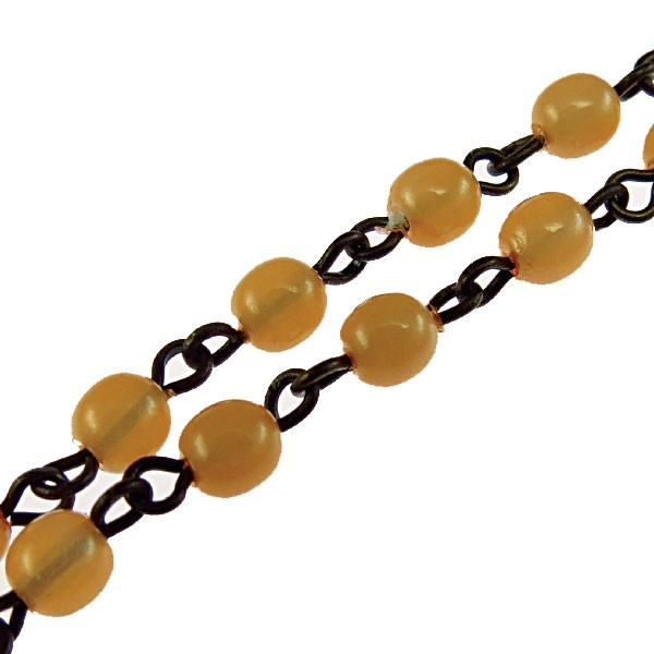 Czech Linked Rosary Chain, 4mm Opal Peach Druk Bead, Brass Linked Chain, (Sold by the Meter)