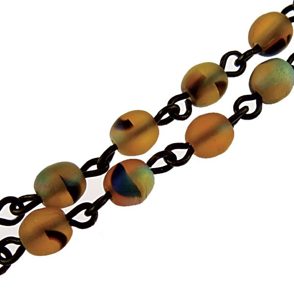 Czech Linked Rosary Chain, 4mm Tortoise Matte AB Druk Bead, Brass Linked Chain, (Sold by the Meter)