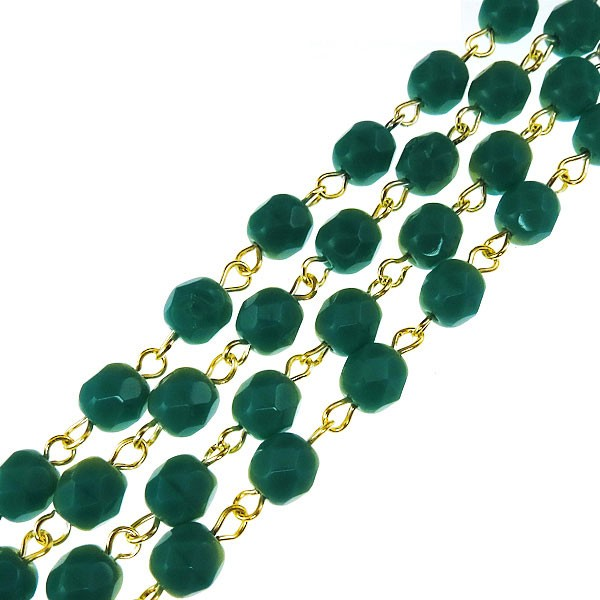 Czech Linked Rosary Chain, 6mm Turquoise Faceted Beads, Brass Linked Chain, (Sold by the Meter)