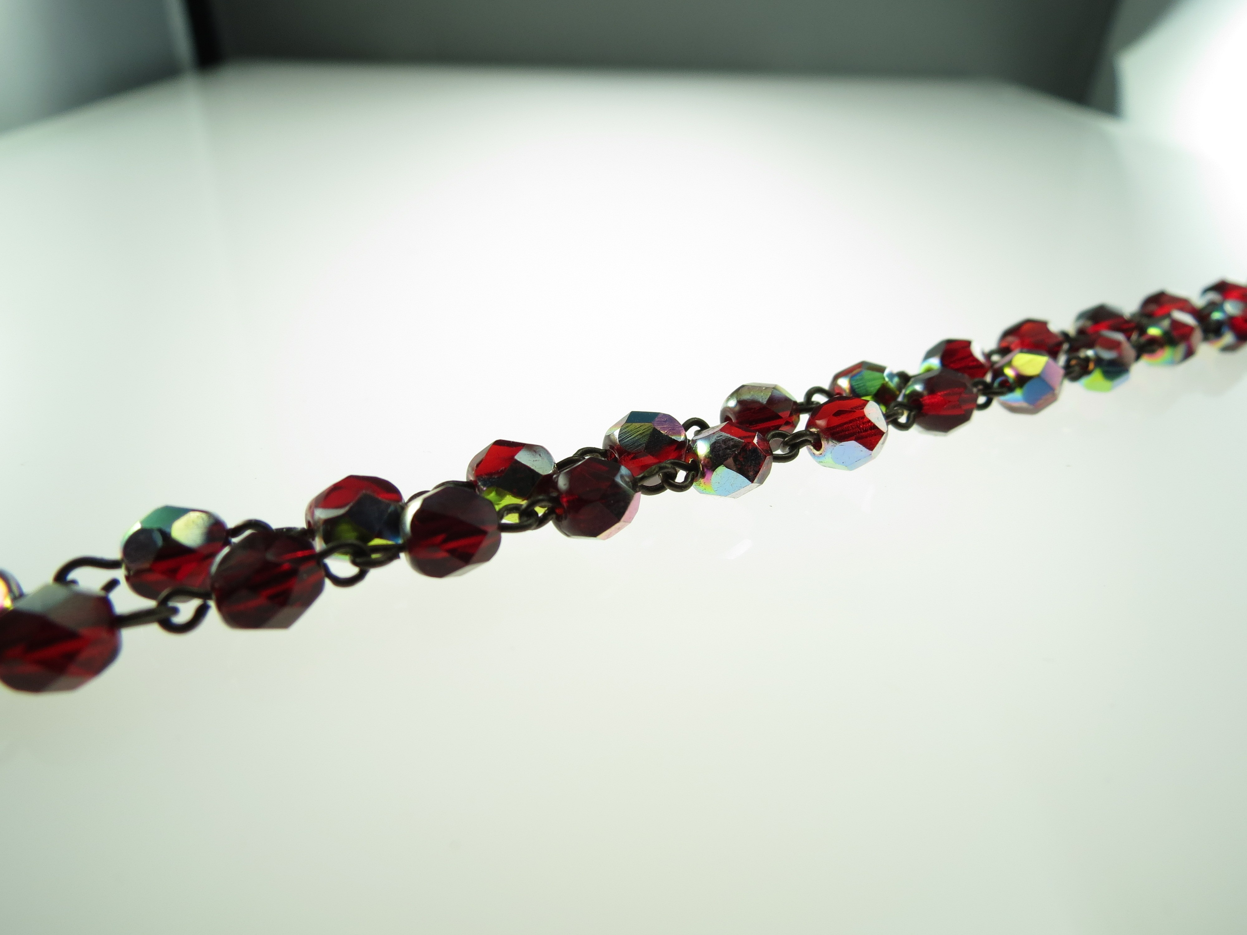 Czech Linked Rosary Chain, 6mm Ruby Vitrail Faceted Beads, Brass Linked Chain, (Sold by the Meter)