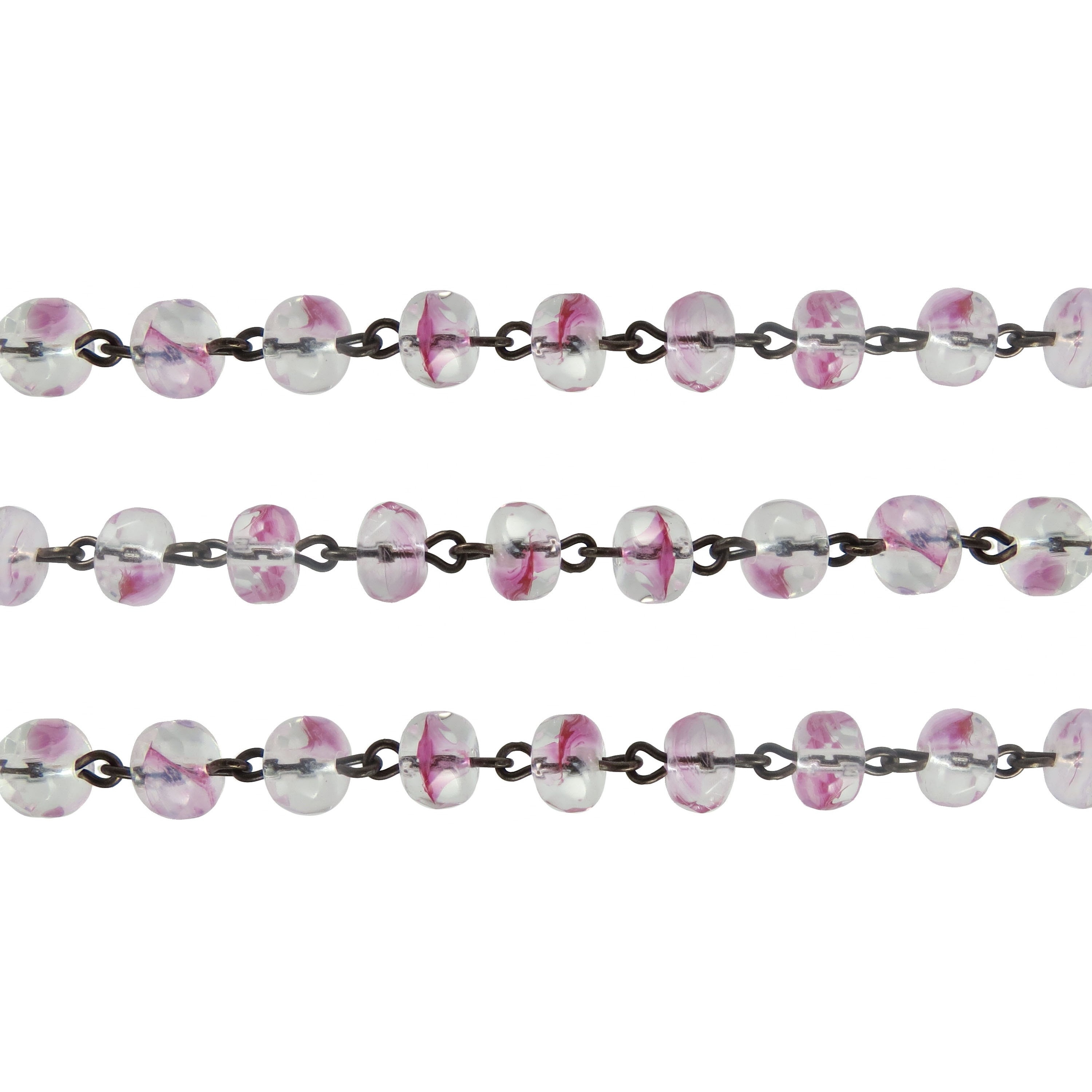 Czech Linked Rosary Chain, 7mm, Striped Pink Faceted Gemstone Rondel Beads  , Brass Link (Sold by the Meter)