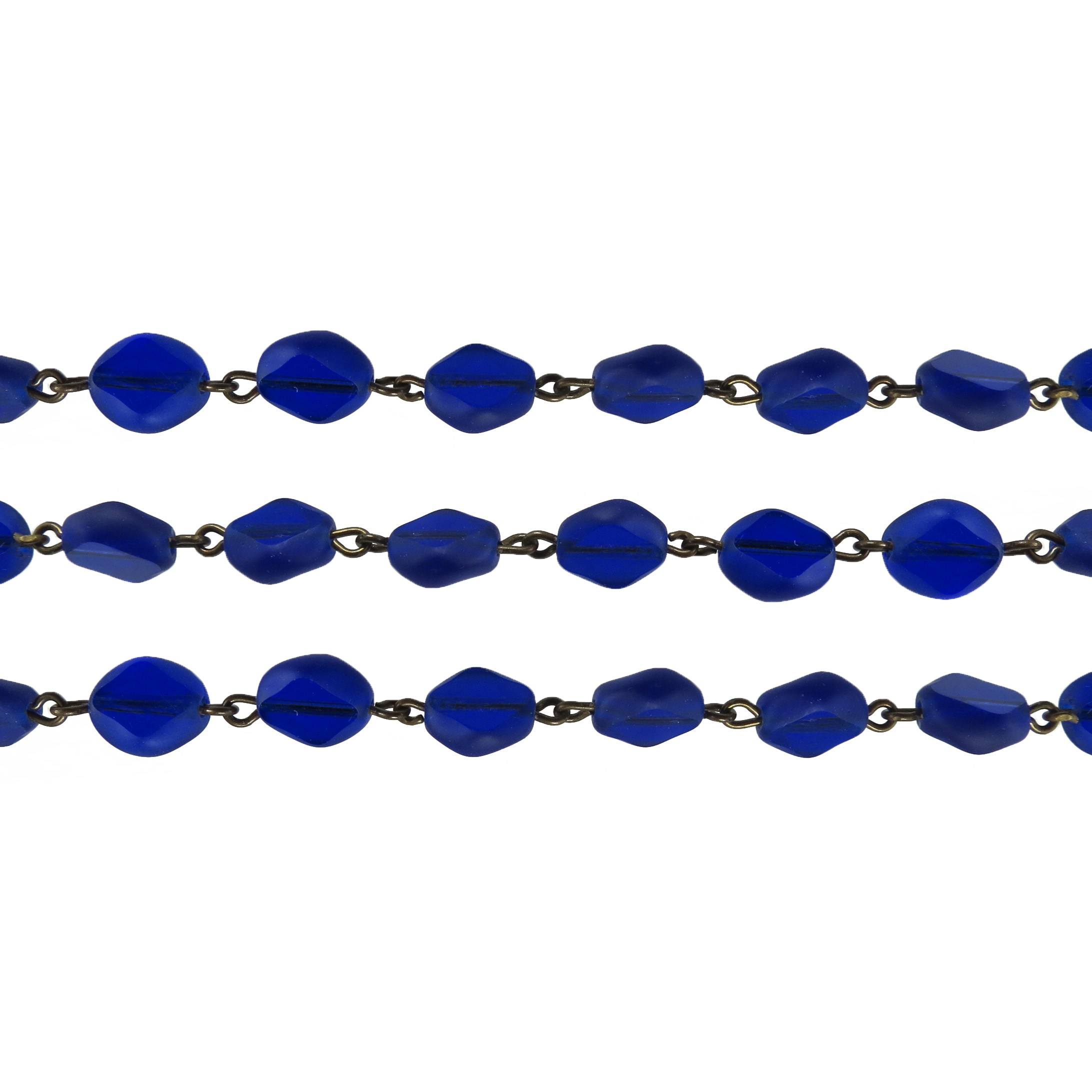 Czech Linked Rosary Chain, 9mm Cobalt Blue Table Cut Diamond Oval Bead, Brass Linked Chain, (Sold by the Meter)
