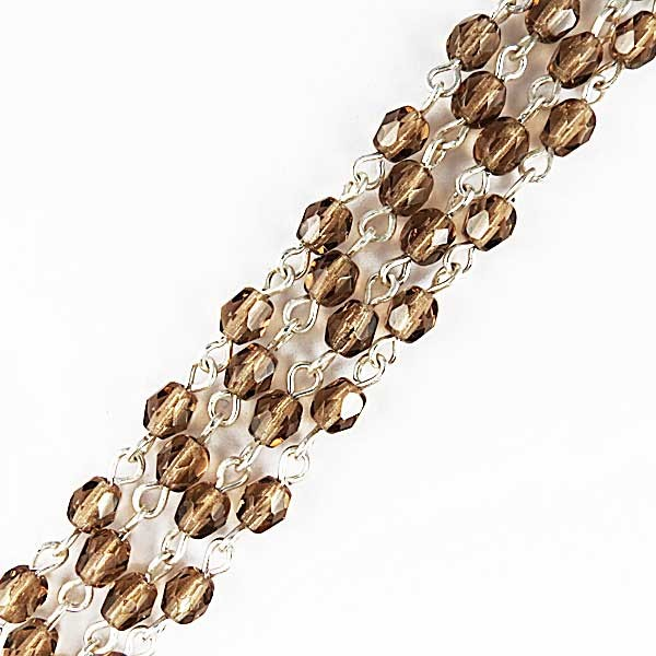 Czech Linked Rosary Chain, 4mm Smoked Topaz Faceted Beads, Silver Linked Chain, (Sold by the Meter)
