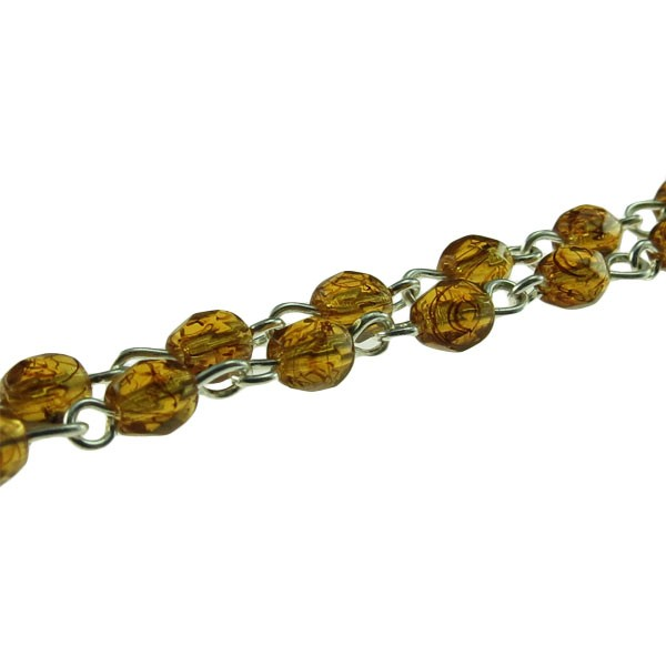 Czech Linked Rosary Chain, 4mm Tortoise Faceted Beads, Silver Linked Chain, (Sold by the Meter)
