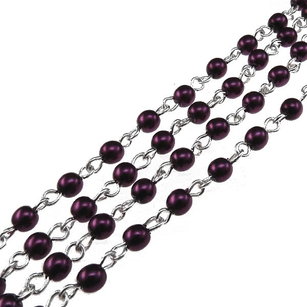 Czech Linked Rosary Chain, 4mm Plum Pearls, Silver Linked Chain, (Sold by the Meter)