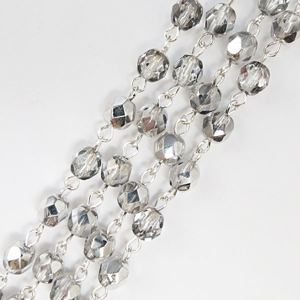 Czech Linked Rosary Chain, 6mm Clear/Silver Faceted Beads, Silver Linked Chain, (Sold by the Meter)