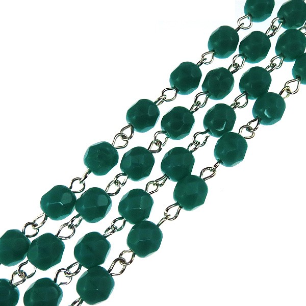 Czech Linked Rosary Chain, 6mm Green Turquoise Faceted Beads, Silver Linked Chain, (Sold by the Meter)
