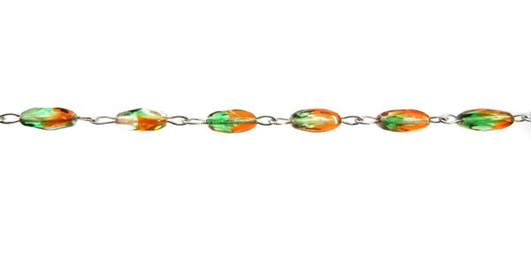 Czech Linked Rosary Chain, 6mm Hyacinth and Green Mixed Fire Polished Bead, Silver Linked Chain, (Sold by the Meter)