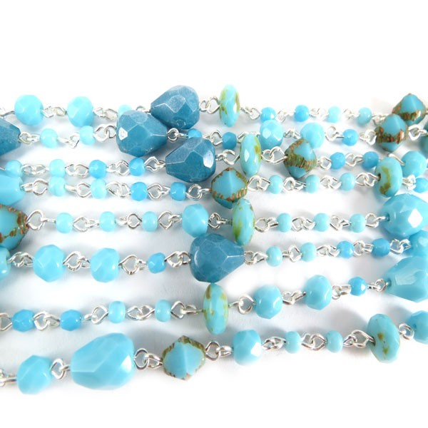 Czech Linked Rosary Chain, Fire Polished Mixed Shape Blue Turquoise Beads, Silver Linked Chain, (Sold by the Meter)