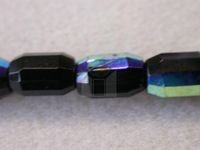 Czech Glass Fire Polished Barrel Bead 10x7mm, Jet AB Coated, (Pkg of 300 Pieces)
