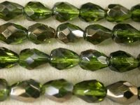 Czech Glass Fire Polished Drop Bead 9x7mm, Olivine Valentinite Coated, (Pkg of 300 Pieces)