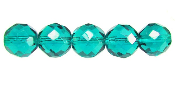 12mm Round Czech Glass Fire Polished Bead, Teal