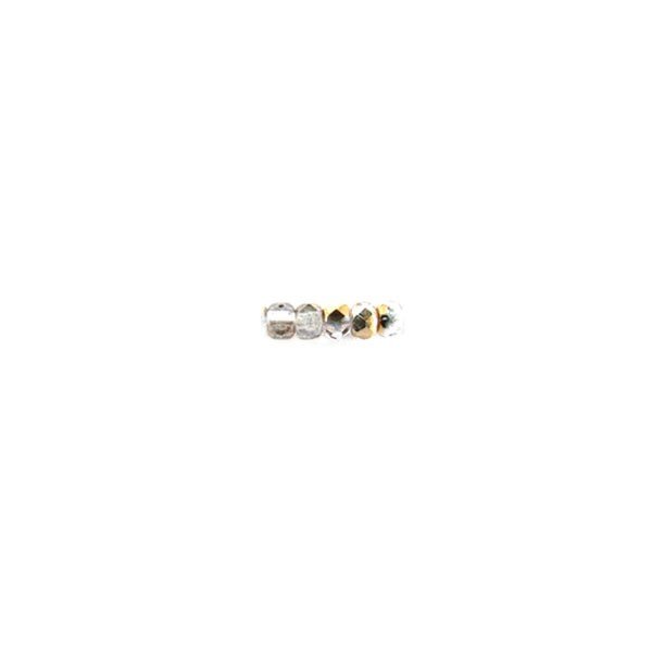 Czech Glass Fire Polished Round Bead 2mm, Crystal Semi Gold, (Pkg of 600 Pieces)
