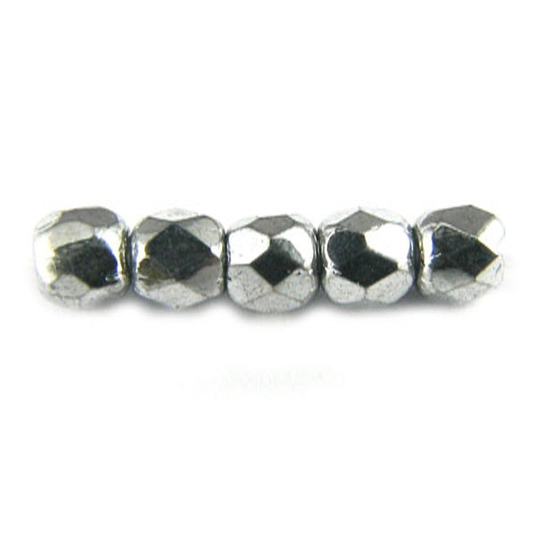 2mm Round Czech Glass Fire Polished Bead, Silver