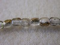 3mm Round Czech Glass Fire Polished Bead, Crystal Semi Gold Coated