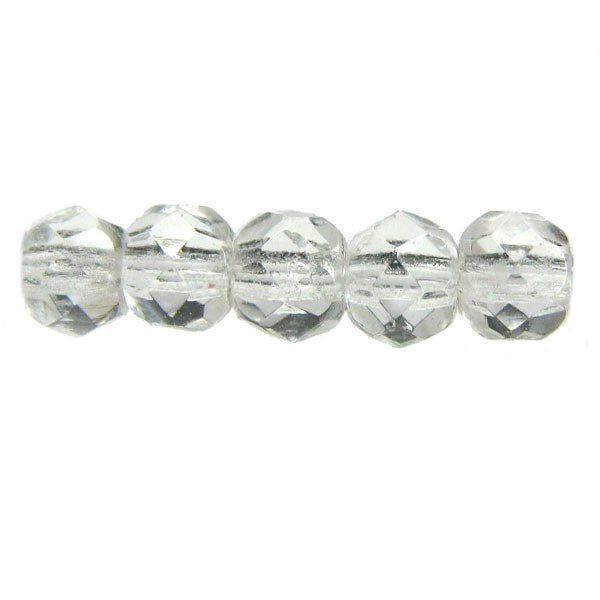 4mm Round Czech Glass Fire Polished Bead, Crystal