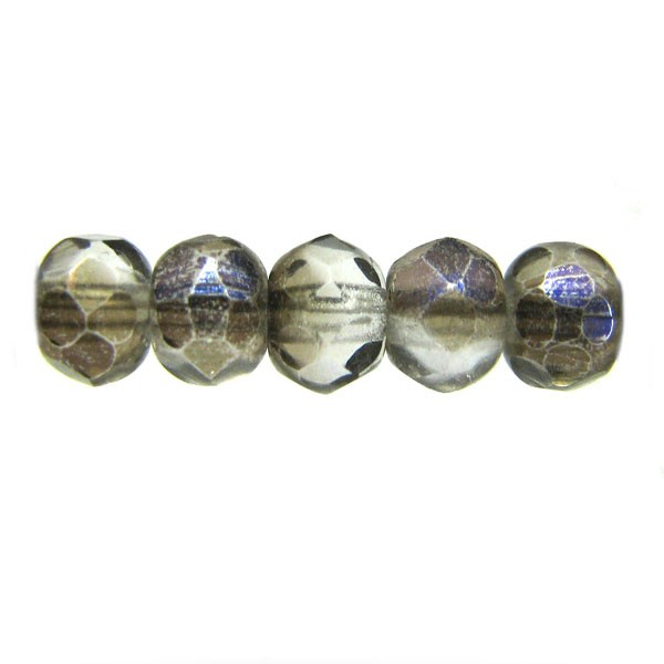 4mm Round Czech Glass Fire Polished Bead, Crystal Azuro Coated