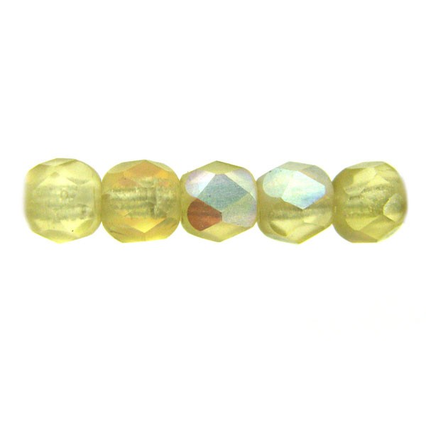 4mm Round Czech Glass Fire Polished Bead, Light Amber Matte AB