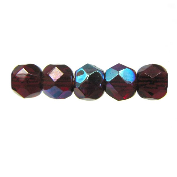 4mm Round Czech Glass Fire Polished Bead, Garnet AB