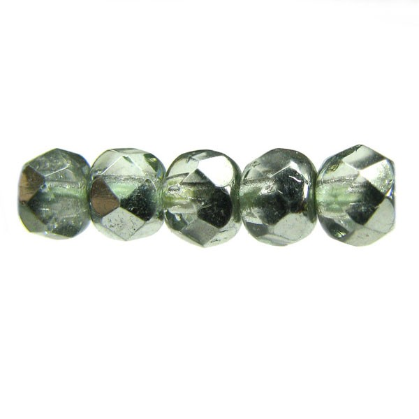 4mm Round Czech Glass Fire Polished Bead, Mirror Mint