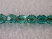 6mm Round Czech Glass Fire Polished Bead, Blue Zircon Copper Lined