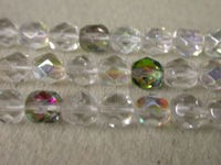7mm Round Czech Glass Fire Polished Bead, Clear Mix