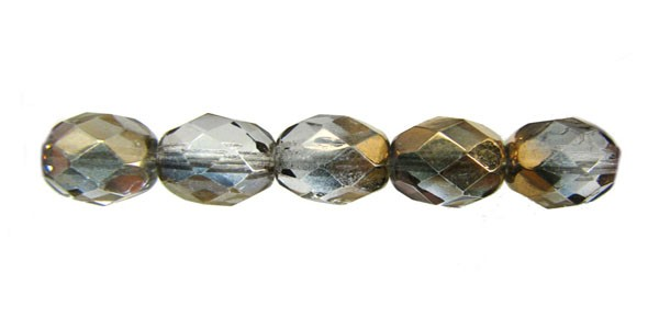 8mm Round Czech Glass Fire Polished Bead, Crystal Semi Gold Coated