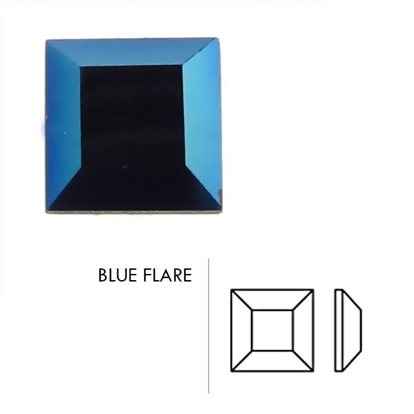 Preciosa Czech Crystal Hot Fix Rhinestone Flatback Square, Blue Flare 4x4mm Pkg. of 5