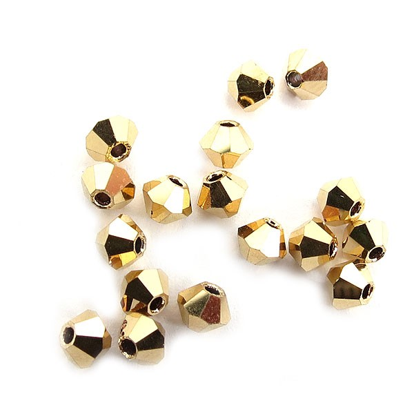 Preciosa Czech Crystal Bicone Bead 3mm, Crystal Aurum Full