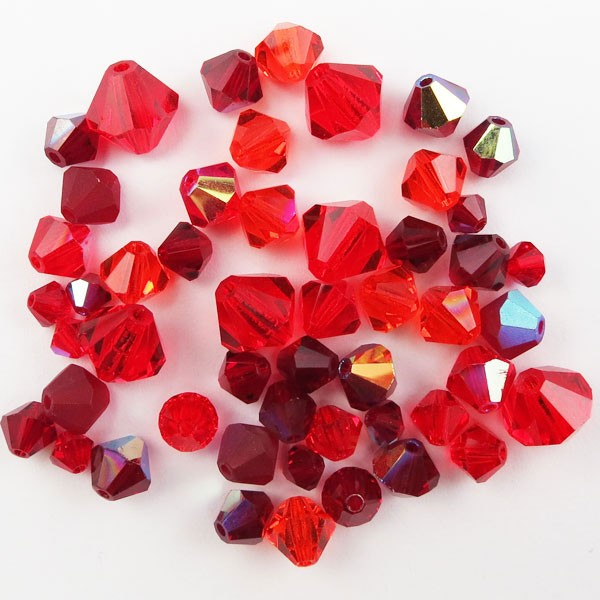 Preciosa Czech Crystal Bicone Bead Mix, Red