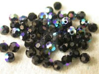 Preciosa Czech Round Crystal Bead 3mm, Jet Black AB Coated