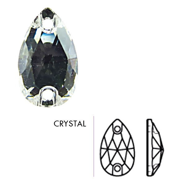 28x17 Preciosa Crystal Sew On Pear, Crystal