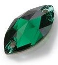 18x10mm Preciosa Crystal Sew On Pear, Emerald