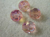 Preciosa Czech Round Crystal Bead 7mm, Light Rose AB