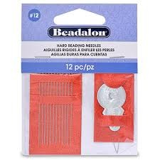 Hard Beading Needles, Size 12, for bead cord sizes up to .0.007 in (.18 mm),12 pc, 2 Threaders