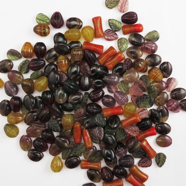 Czech Pressed Seaglass Bead Mix,  Assorted Two Tone Colors