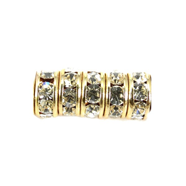Czech Rhinestone 7mm Rondelle Crystal , Gold Setting