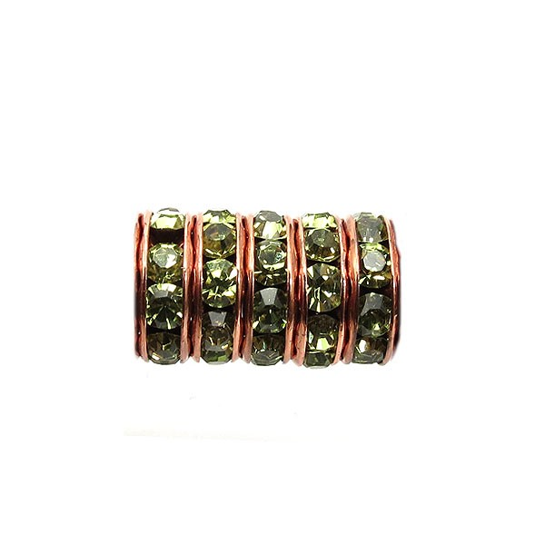 2.5mm Hole Czech Rhinestone Rondel 4mm, Olive/Antique Copper